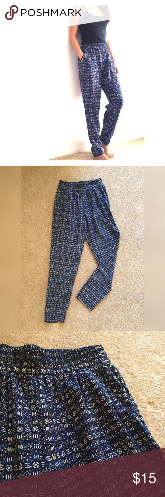 Harlem pants From Nordstrom. Blue and white geometric pattern. Silky material, tapers at the bottom. Lush Pants