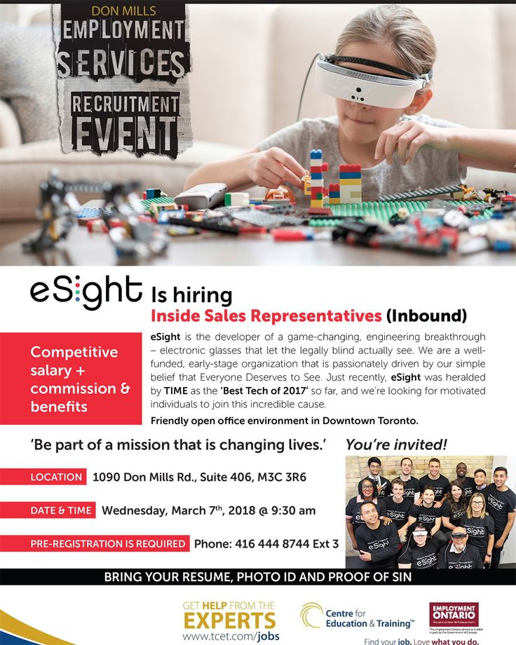 Looking for #work ? Why not consider working for one of Canada's most exciting tech companies - while helping people with #disabilities at the same time? Stop by the @eSightEyewear  hiring event Wed Mar 7, 9:30am at #TCET_DonMills -  Reg. required: RSVP 416 444 8744 Ext. 3 #ONjobs