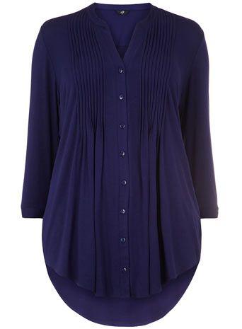 Evans Navy Pintuck Shirt - Tops & Tunics - Clothing