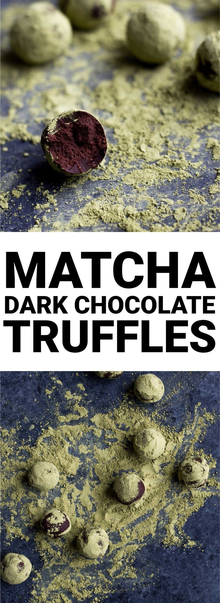 Vegan Matcha Dark Chocolate Truffles: The richest truffles ever! Made with only four ingredients, and they're naturally gluten free and vegan. Perfect for St. Patrick's Day or any day a sweets craving strikes! || fooduzzi.com recipe