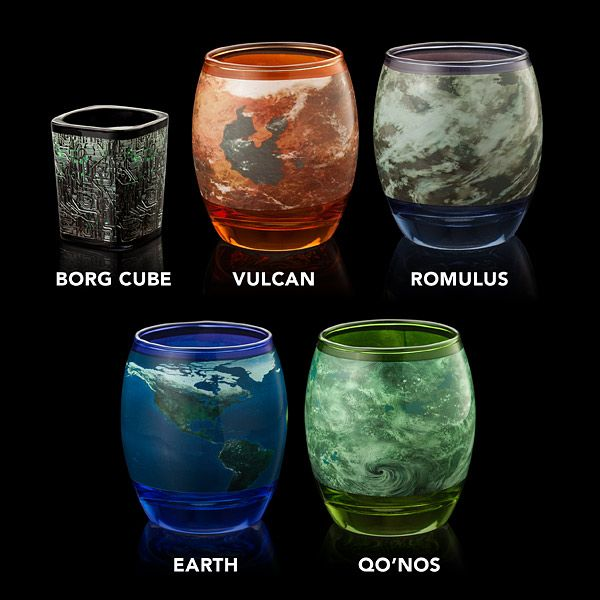 An Out of This World Star Trek Glassware Set Featuring 4 Planets and a Borg Cube Shot Glass