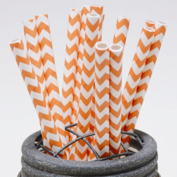 40 Pumpkin Orange Chevron Paper Straws in Clear Box - Perfect for Parties - Favors--Free Editable DIY Tags PDF