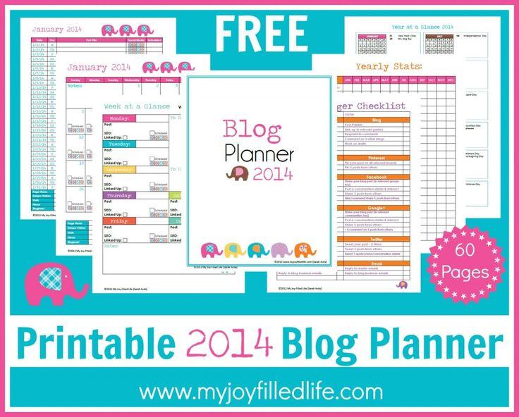 FREE Printable 2014 Blog Planner - My Joy-Filled LIfe