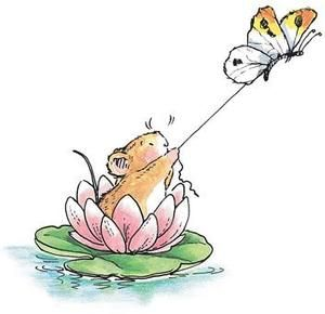 *Penny Black Rubber Stamp WATER LILY SKIING Ski Mouse with Butterfly 2063k