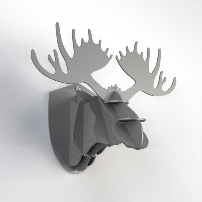 Mini Hunting Trophy - Grey Moose. A tiny version of our big Hunting Trophy. Perfect for small spaces and for get-together decoration party! Made from PVC foam, cnc cutted. Designed and made in Québec, by dezz.xyz.