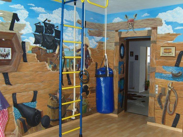 Pirate Themed Custom Wall Mural In A Kidu0027s Room. Great Idea For A Hand Part 42