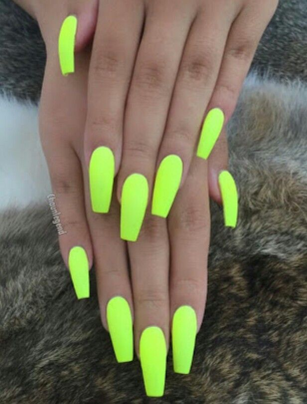 Yellow Summer Trend For 2018 Neon Acrylic Nails Neon Nails Neon Nail Polish