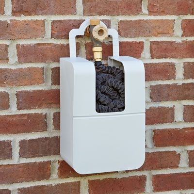 Hose Keeper for Expanding Hoses  $19.95 Easy Hose Storage Hose Keeper stores 25'- 100' of Expanding Hose by conveniently hanging over your spigot or water supply. Self draining design protects hose from the sun while the flat bottom allows for storage on any flat surface. Adjustable collar fits most spigots.