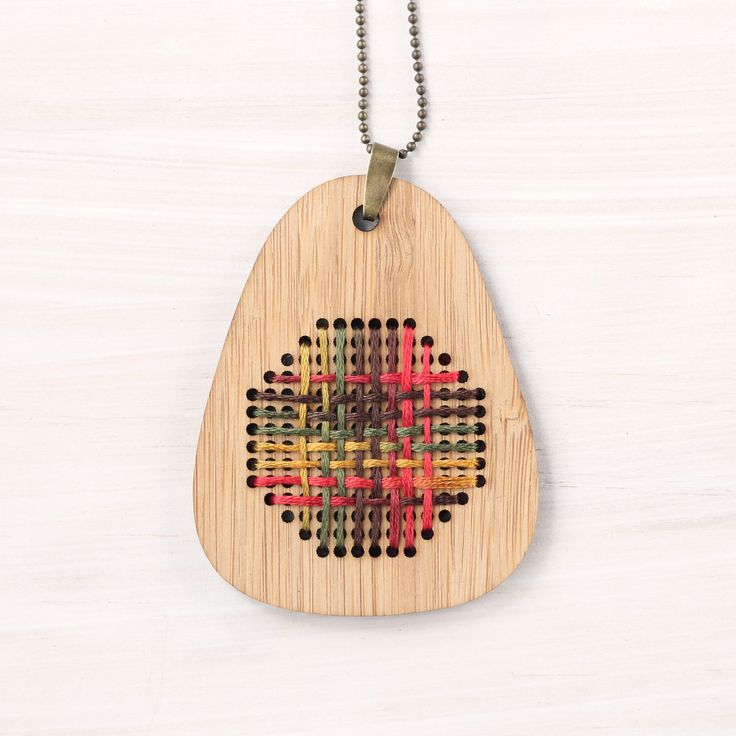 Harvest Weave / Bamboo Embroidered Necklace Kit / Modern Embroidery Kit / DIY Wearable Weaving Kit by ClementineAndThread on Etsy