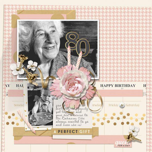 happy 80th birthday digital scrapbooking layout by brandy
