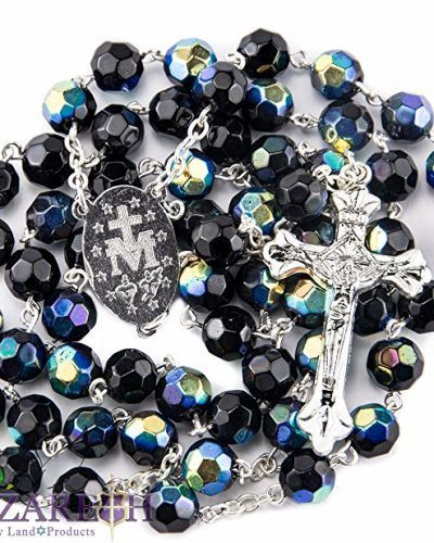 Unique Deep Blue Crystal Beads Rosary Catholic Necklace Holy Soil Medal & Cross - by Nazareth Market Store eqxPZA4ptR