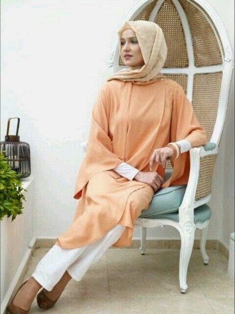 Tesettür modası - hijab fashion *turuncu beyaz uyumu* ( tunik )