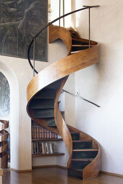 Modern Spiral Staircase. #homedesign #staircase #decorating ideas home decorating ideas, stair, modern house design. See more at www.brabbu.com