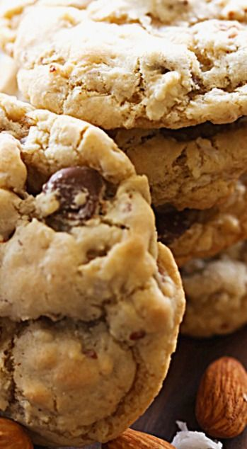 Almond Joy Cookies - chewy and delicious cookies loaded with coconut, almonds and chocolate! It is such a flavor packed cookie that they will become one of your favorites! ❊