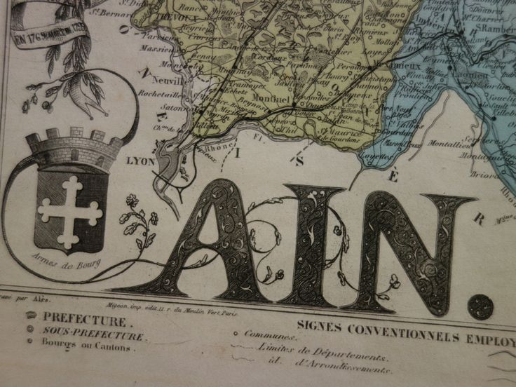 """1883 antique map of Ain departement France - beautiful old hand colored engraving - carte l'ain Bourg Belley Nantua Trevoux 25x34c 10x13"""" by VintageOldMaps on Etsy"""
