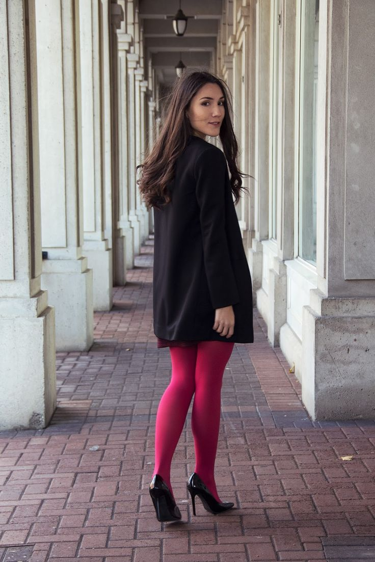 Fashion look from january 2016 featuring pink opaque tights round - Coloured Tights Outfit