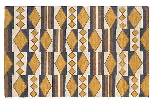 Angela Flat-Weave Rug, Mustard on OneKingsLane.com
