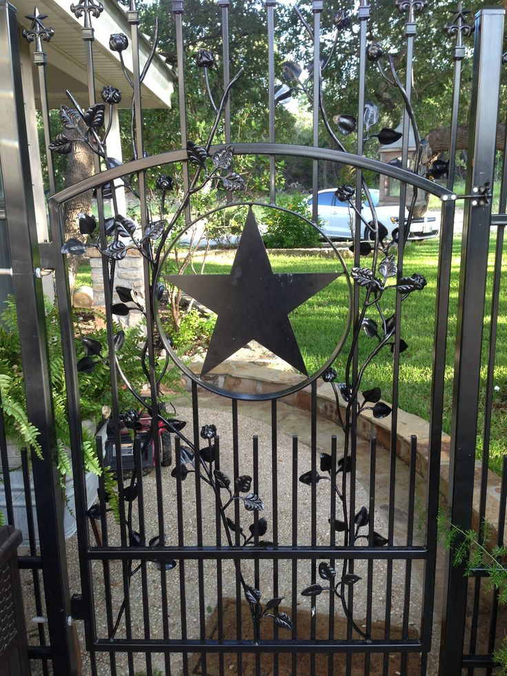 Rose Theme Wrought Iron Walk Gate Has Texas Star Artwork