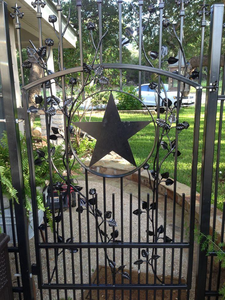 Rose Theme Wrought Iron Walk Gate Has Texas Star Artwork