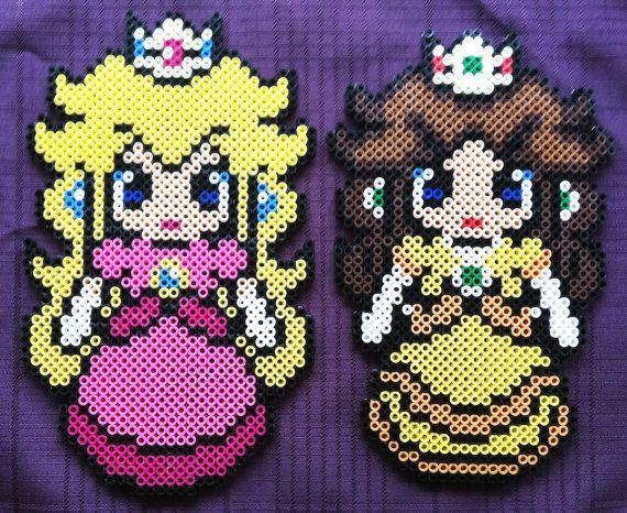 Princess Peach or Princess Daisy Perler Bead Sprite by BrittsDesignAndBeads