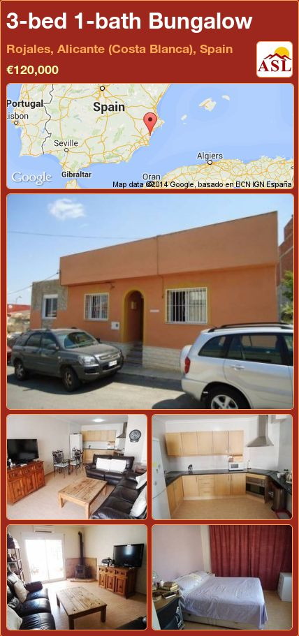 3-bed 1-bath Bungalow in Rojales, Alicante (Costa Blanca), Spain ►€120,000 #PropertyForSaleInSpain