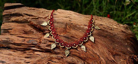 Collar étnico joyería hippie Tribal tejido collar