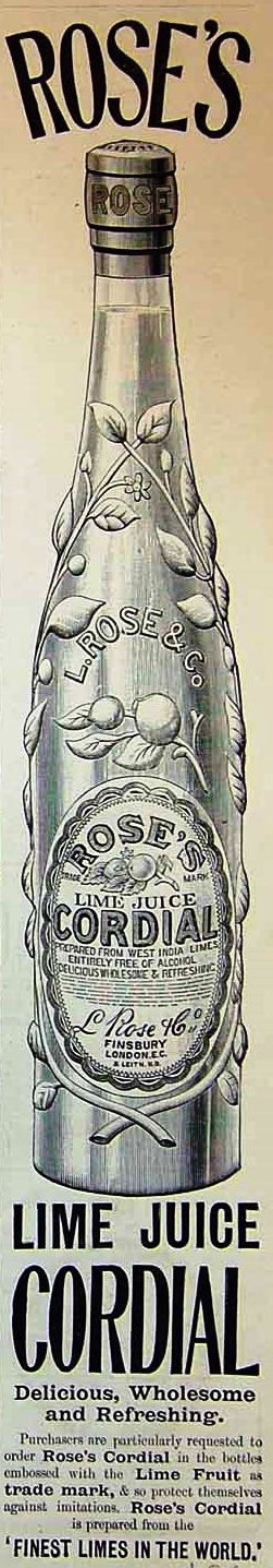 Early advert for Roses Lime Cordial