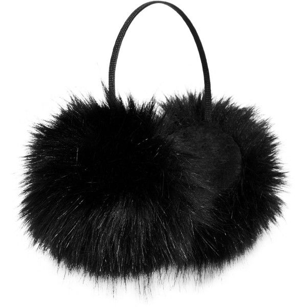 Betsey Johnson xox Trolls Faux-Fur Ear Muffs, ($22) ❤ liked on Polyvore featuring accessories, black, betsey johnson and faux fur earmuffs