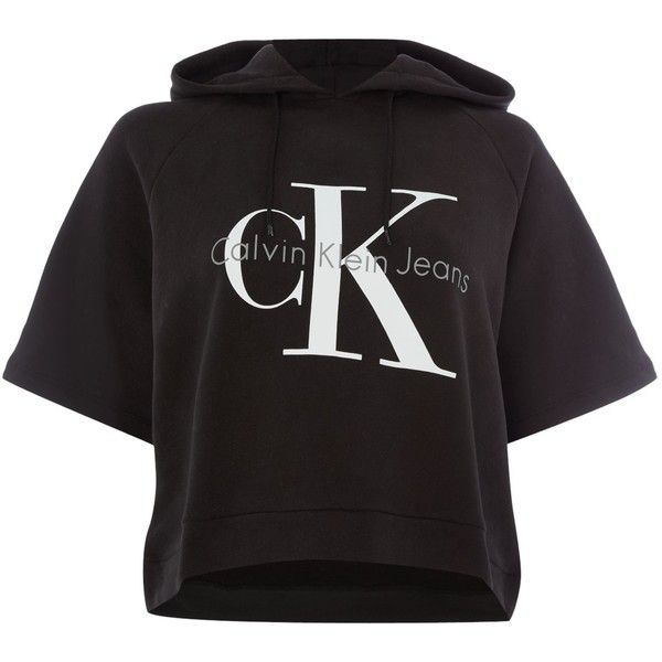 Calvin Klein Short Sleeve Cropped Re-issue Hooded Sweatshirt ($120) ❤ liked on Polyvore featuring tops, hoodies, black, women, short sleeve tops, short sleeve hoodies, hooded sweatshirt, short sleeve hoodie and crop top