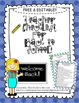 These FREE teacher checklists arePerfect for getting your classroom together for that first day! They are completely editable so you can add or change anything to fit your needs! Please help me meet my challenge of getting 100 votes!! If you download and like this product, please vote for it by leaving a fair rating!!
