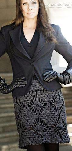 Теплая вязаная юбка крючком | MoeVjazanie