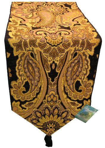 """MWW Gold Ariana Holiday Persian Paisley Tapestry Table Runner with Tassel 13x72"""""""