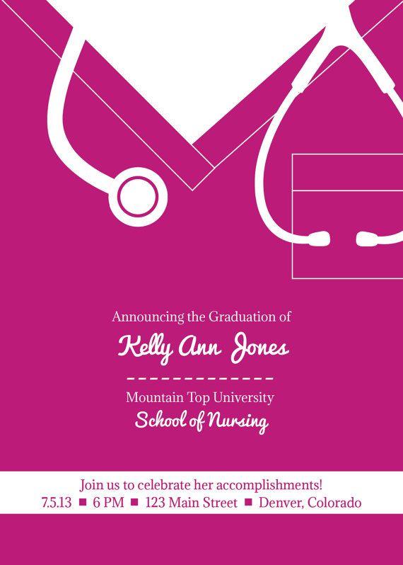 picture regarding Nurse Graduation Invitations Printable identified as Nurse Or Health practitioner Commencement Invitation Playing cards Through: Nursing