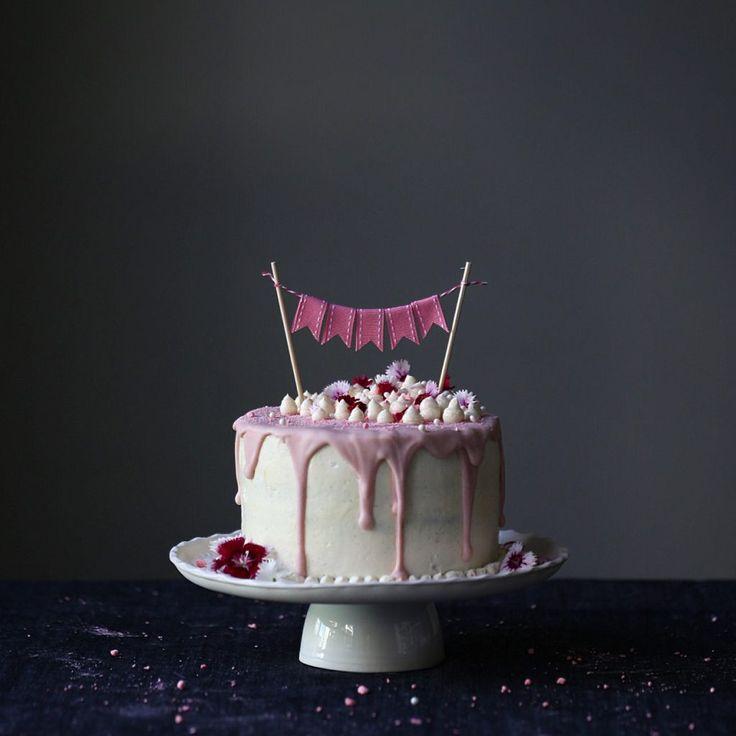 White Chocolate Mud Cake with Rhubarb Raspberry and Vanilla Jam