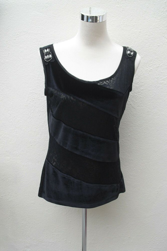 117936e6785e7c Marks and Spencer Per Una black velvet and lace striped evening top vest  size 12