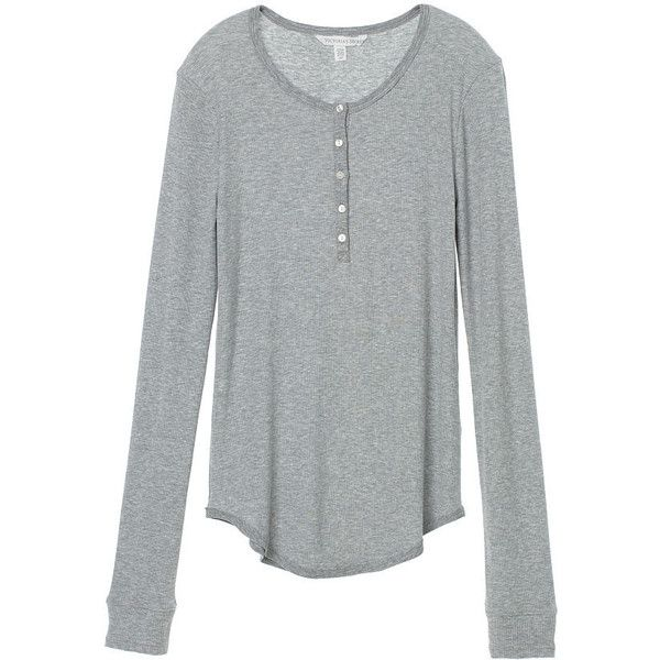 Victoria's Secret Long-Sleeve Henley Tee ($15) ❤ liked on Polyvore featuring tops, t-shirts, long sleeve t shirts, long sleeve tee, sexy t shirts, long sleeve layering tee and drapey tee