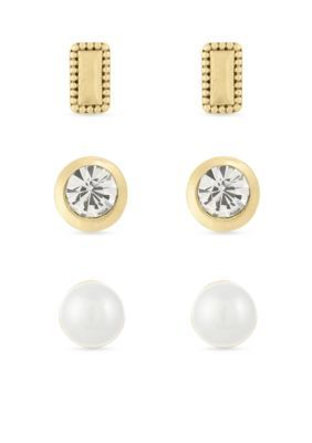 Laundry By Shelli Segal Women Pearl Stud Earring Set - Gold - One Size
