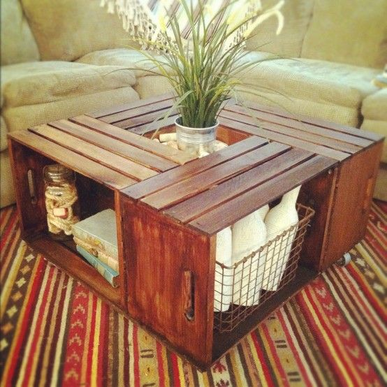 Simple, stained wooden crate coffee table.