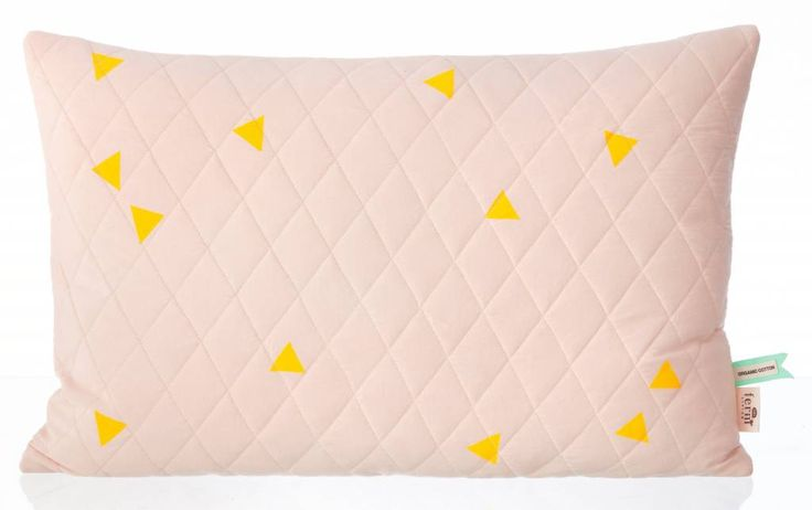 """Ferm Living Cushion """"Teepee Quilted Cushion Rose"""" organic cotton jersey 60x40cm pink / yellow"""