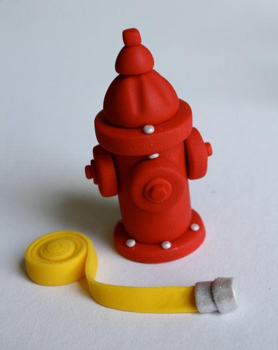 Fondant Firefighter Cake Topper Set by KimSeeEun on Etsy