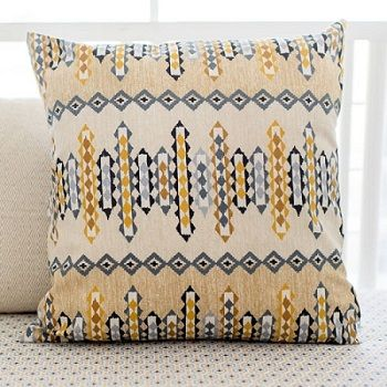 This Aztec Throw Pillow is sophisticated and fun! Add a southwestern feel to your nursery with our Navajo in Gold Crib Collection.
