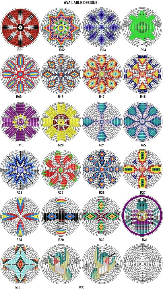 "Rosette Kit Fabric Native American Designs to make 2.5"" dia (4)"