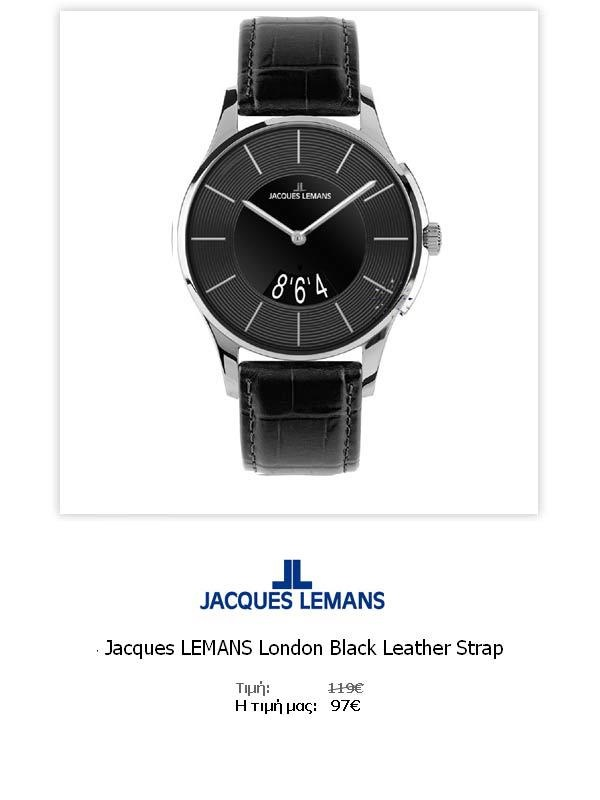 Jacques LEMANS London Black Leather Strap  1-1746A  Όλες οι λεπτομέρειεςτου ρολογιού εδώ   http://www.oroloi.gr/product_info.php?products_id=31785