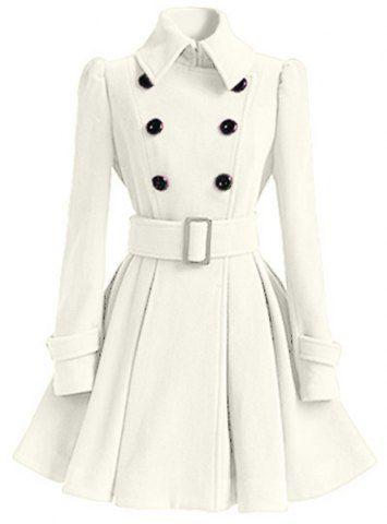 Sweet Buttoned Long Sleeve Belted Wool Dress Coat For Women