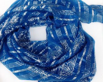Check out Summer beach Cover Up Blue Silver Silk Square shawl, Gift for Teacher, New Fashion gift, Gift for Best Friend, Anniversary Gift for her on blingscarves