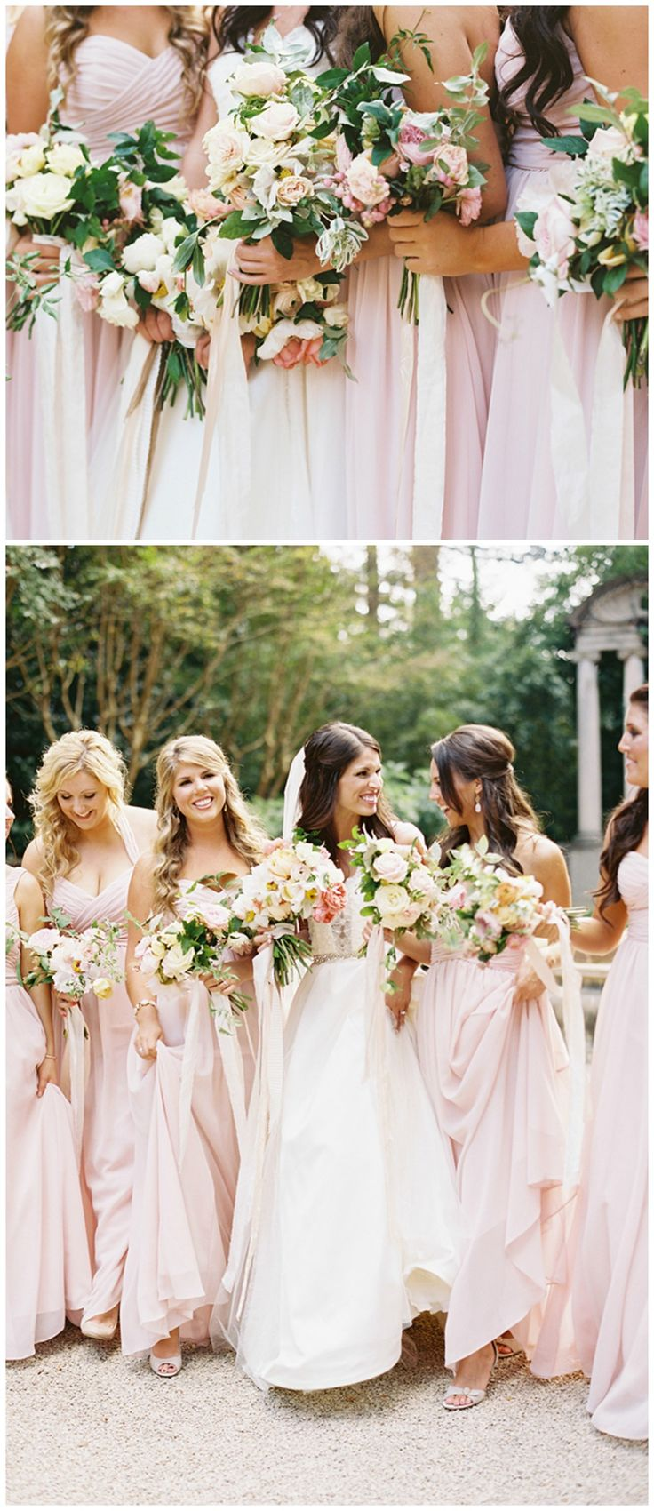 945 best bridesmaid style images on pinterest chiffon bridesmaid these bridesmaids absolutely glow in their blush pink dresses kennedy blue chiffon bridesmaid dresses ombrellifo Gallery