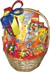 "Classic Gumball Machine Basket  Price: $58.45    Includes Carousel Classic 9"" gumball machine, boston baked beans, runts, goobers, lemonheads, mike & ikes, orangeheads, raisinets, skittles, sugar babies, and 8 ounce bags of chiclets, bubble gum and flower power candy....Read More"