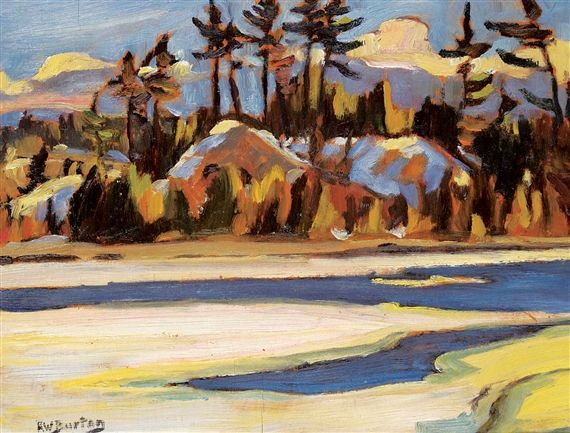 Ralph Wallace Burton - Break up on the River 10.5 x 13.5 Oil on board