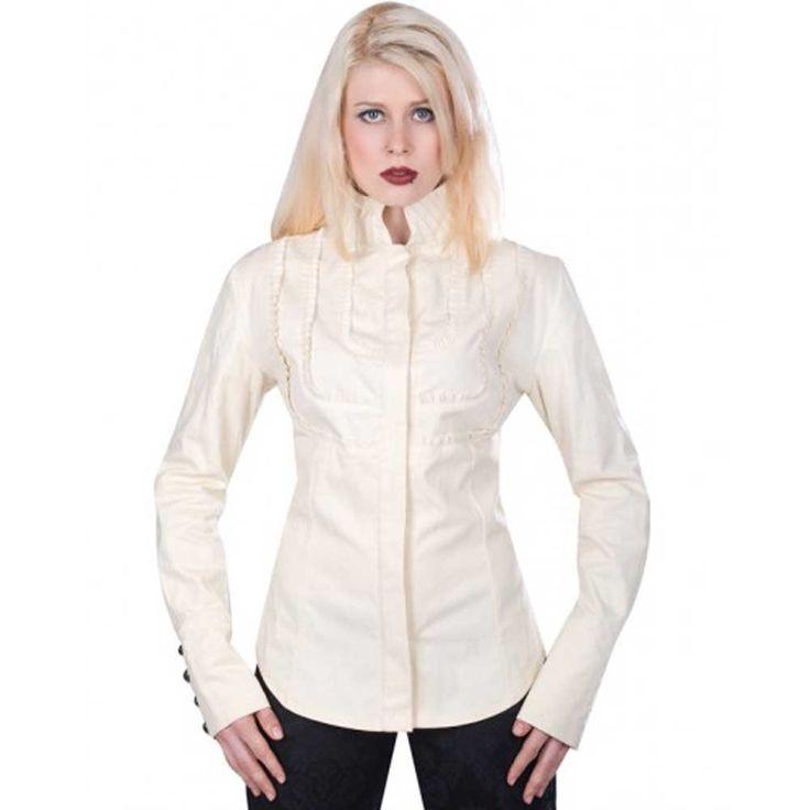 Aderlass. Een crème kleurige dames steampunk/victoriaanse blouse met lange mouwen en hoge kraag. Op de voorkant zit mooie ruches detail.