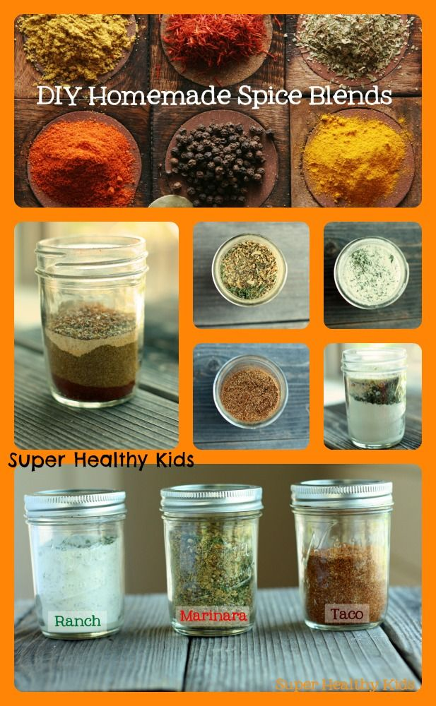 Make your own spice blends to save time, money, control the ingredients, and have fun with your kids in the process! #healthyshortcuts #kidsinthekitchen from Super Healthy Kids